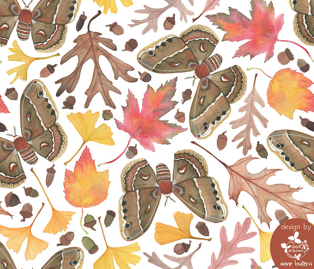 fabric design, watercolor fabric design, surface pattern design, autumn, botanical watercolor, moths, Anne Butera, My Giant Strawberry