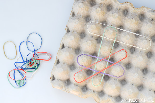 Fine motor activity for kids using a homemade egg carton geoboard from And Next Comes L