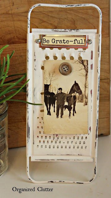 Repurposed Grater Photo Easel