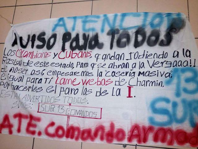 Comando Armado Sur 13 amenaza en narcomanta a todos los Colombianos y Cubanos que estén jodiendo a la racita de Quintana Roo ábranse o empezaremos la cacería