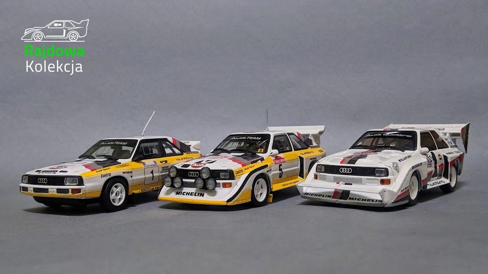 Minichamps' Audis: Sport Quattro Acropolis '85, Sport Quattro S1 Sanremo '85, Sport Quattro S1 PP Pikes Peak '87