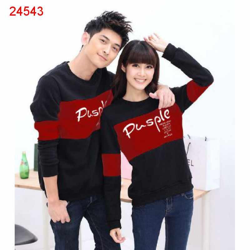 Jual Sweater Couple Sweater Pusple Neo Black Maroon - 24543
