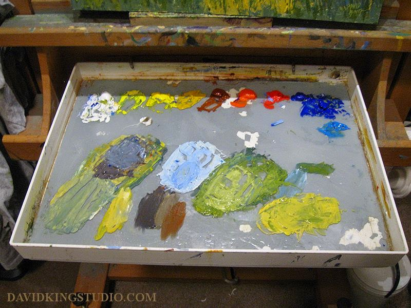 art painting acrylic palette messy used color