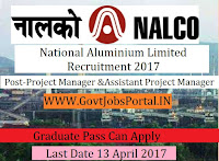 National Aluminium Limited Recruitment 2017– Project Manager, Assistant Project Manager