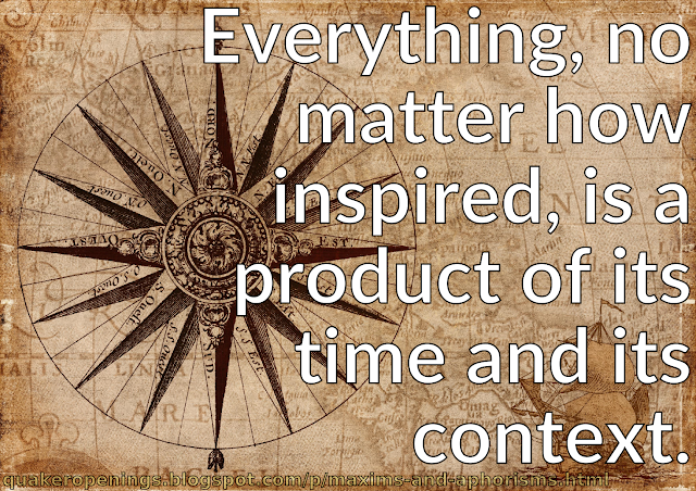 """A parchment-style background featuring renaissance-style map figures and compass rose, with the compass directions labelled in French. Text overlay reads """"Everything, no matter how inspired, is a product of its time and its context."""""""