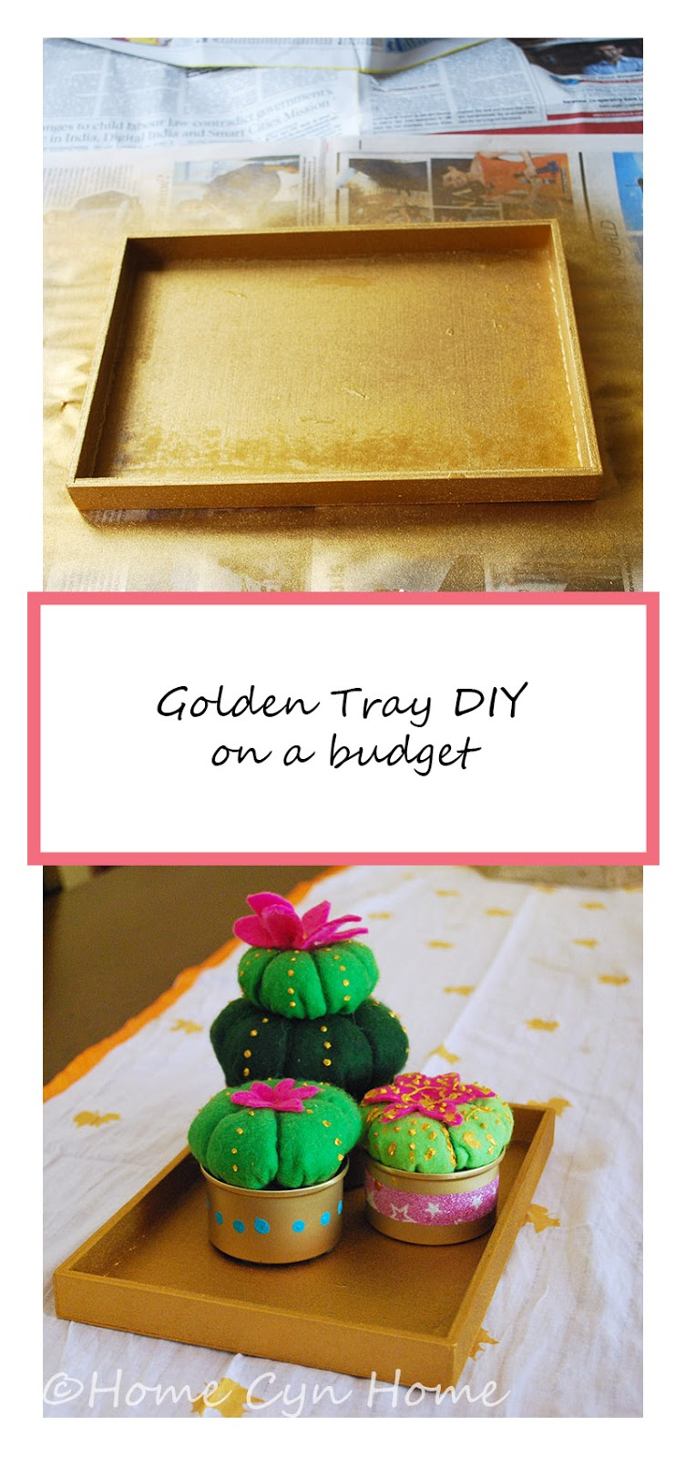 Turn an old wooden box or lid into a stylish gold tray with a little spray paint
