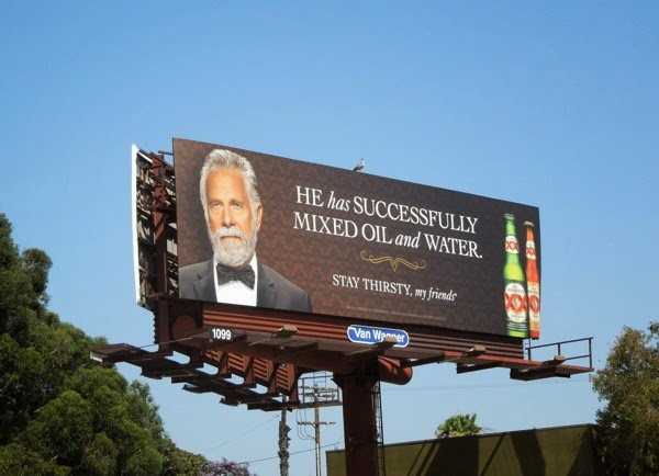 Dos Equis mixed oil and water billboard