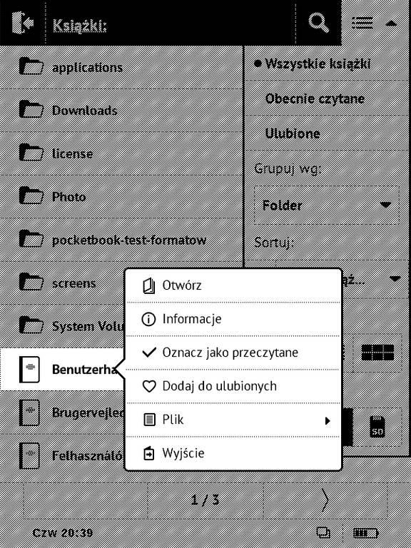 Biblioteka w PocketBook Basic Touch 2 Save & Safe – menu kontekstowe przy wybieraniu e-booka