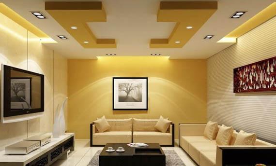 model plafon kayu ruang tamu sederhana
