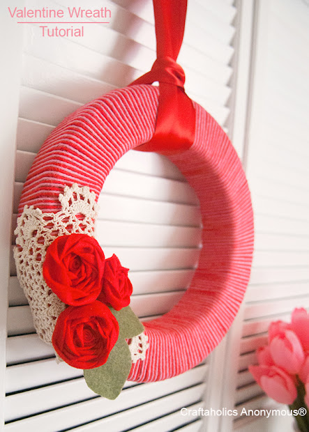 valentine yarn wreath