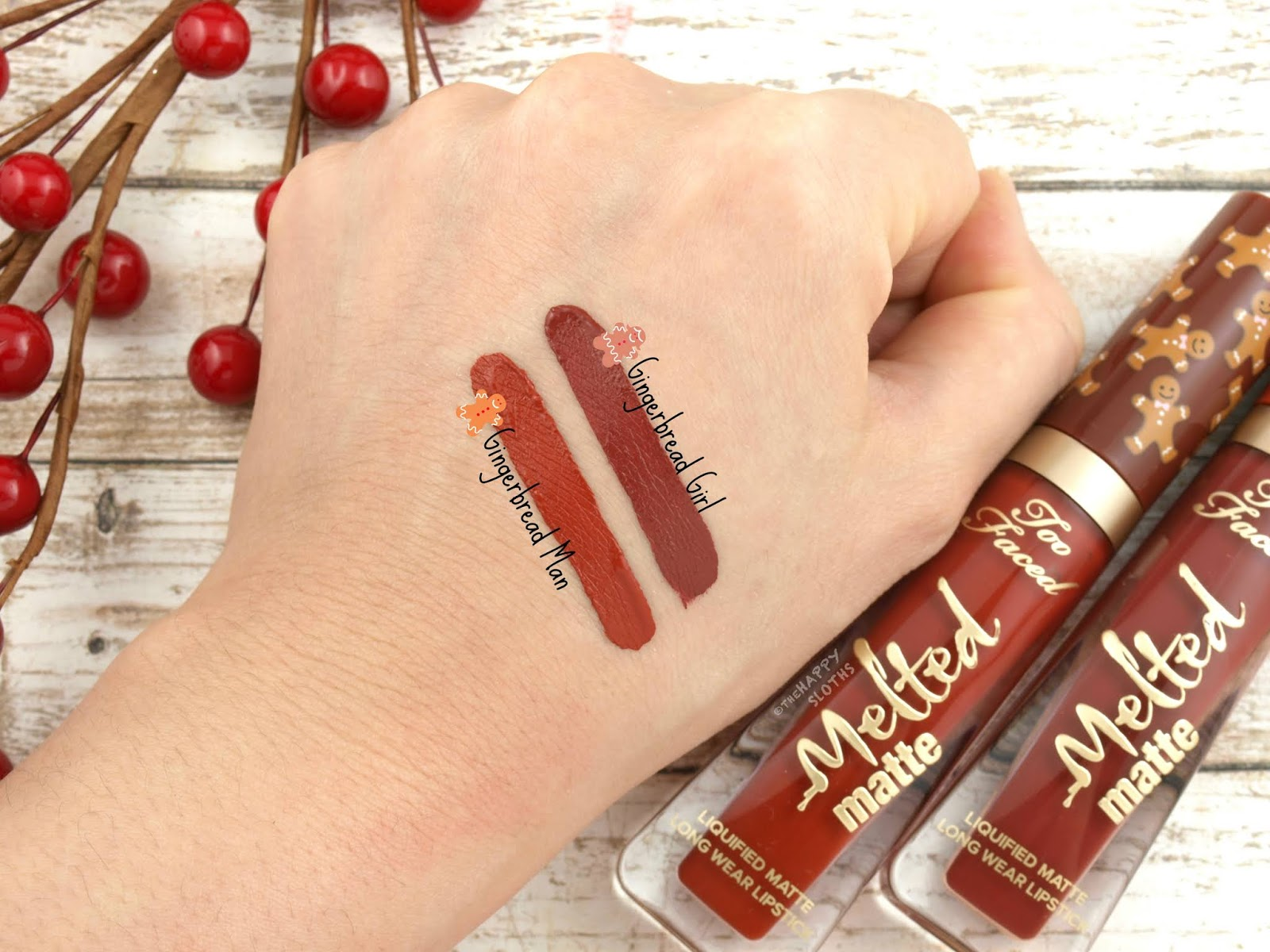 "Too Faced | Melted Matte Liquified Long Wear Lipstick in ""Gingerbread Girl"" & ""Gingerbread Man"": Review and Swatches"