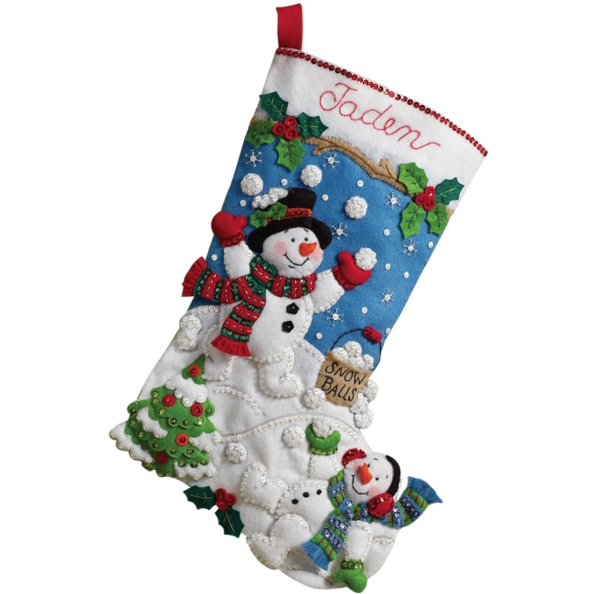Snowman Felt Stocking