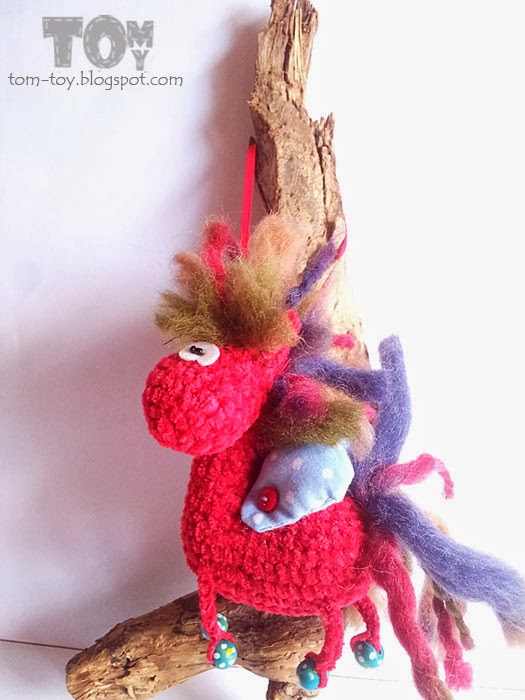Red crochet horse