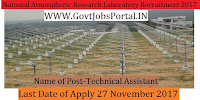 National Atmospheric Research Laboratory Recruitment 2017– Technical Assistant