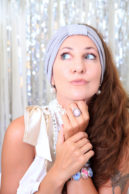 Turban Headband in Silver by Mademoiselle Mermaid