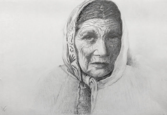 Cours de dessin Ateliers LT37 - Karin W - portrait crayon graphite et pierre noire - tours st pierre des corps st cyr sur loire amboise