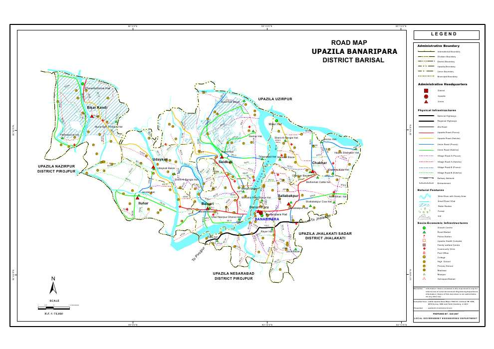 Banaripara Upazila Road Map Barisal District Bangladesh