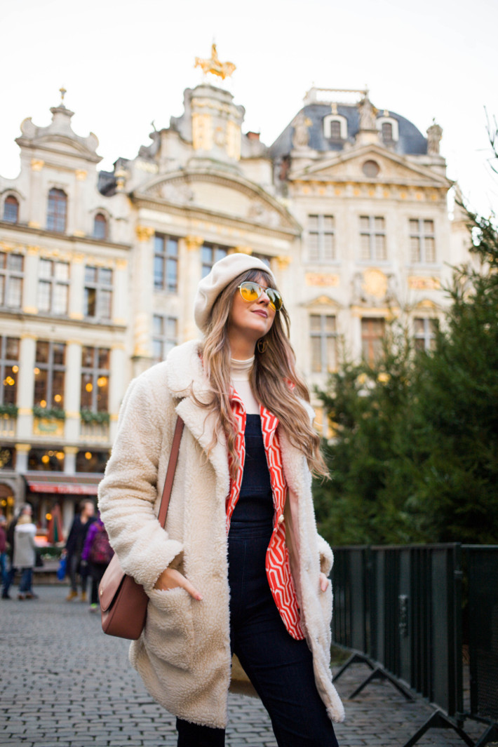 teddy coat, dungarees, vintage blazer, yellow pilot glasses