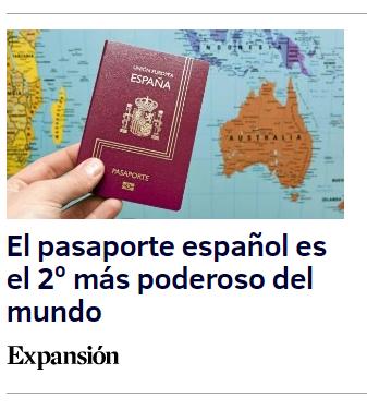 El pasaporte español, el 2º más poderoso del mundo