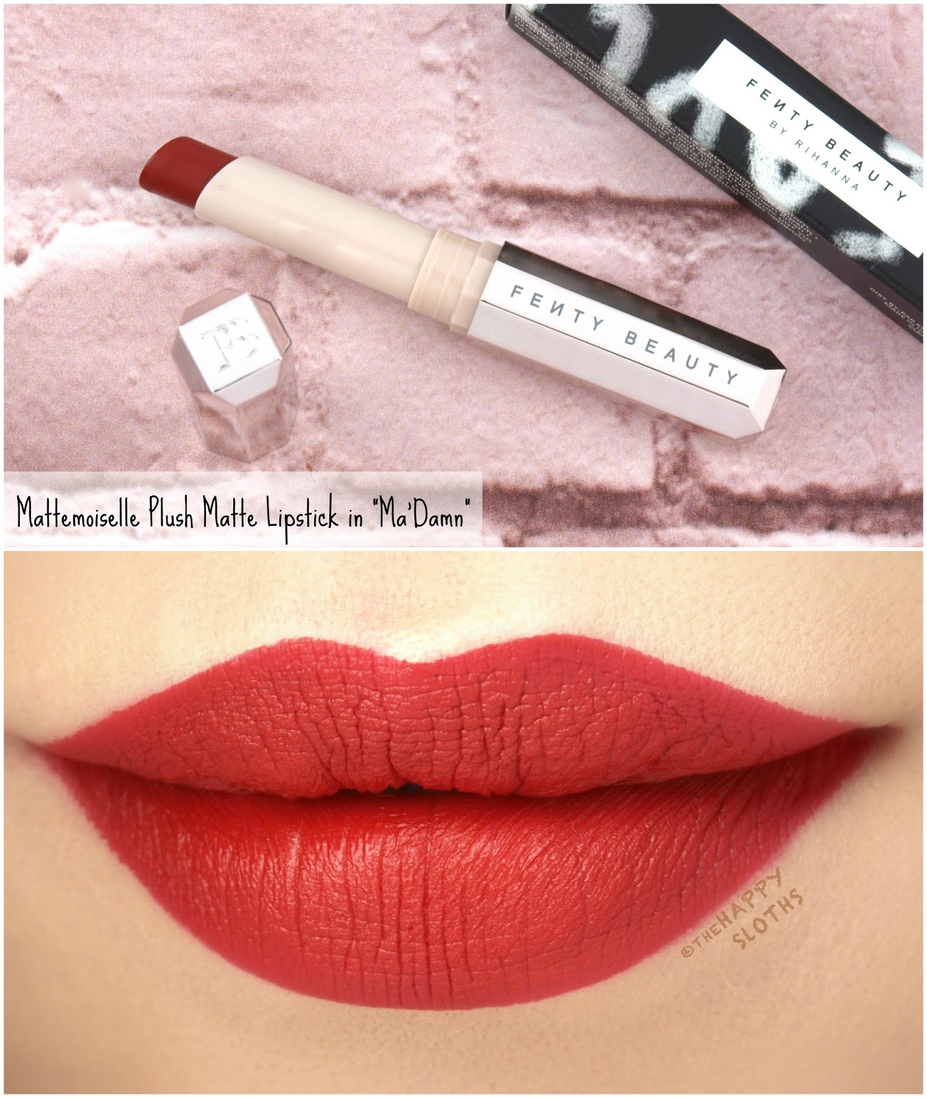 "Fenty Beauty by Rihanna | Mattemoiselle Plush Matte Lipstick in ""Ma'Damn"": Review and Swatches"