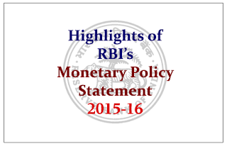 Highlights of RBI's First bi-monthly monetary policy statement 2015-16