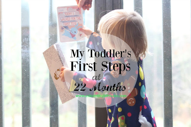 after fears of hip dysplasia and with hypermobility my toddler took her first steps at twenty two months. This blog post explains the diagnosis and shares a video of her first steps.