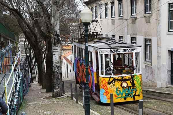 Tranvía subiendo calles en Lisboa