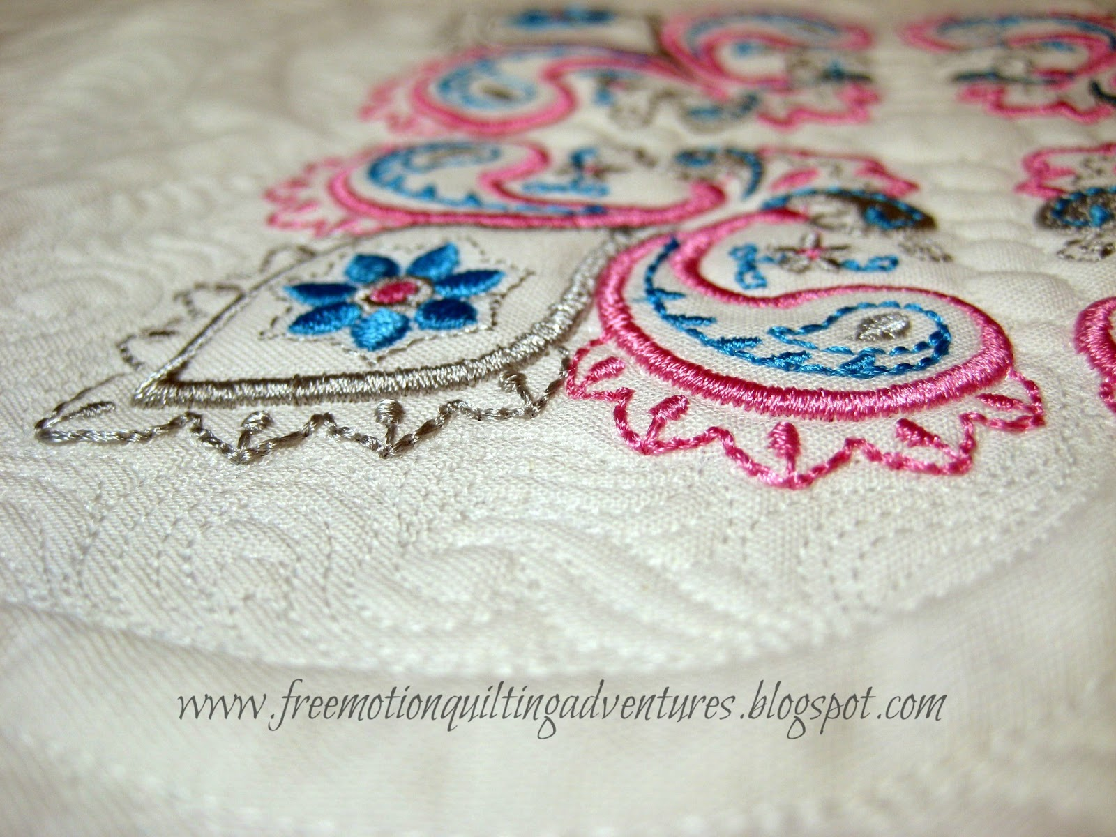 paisley embroidery free motion quilting detail
