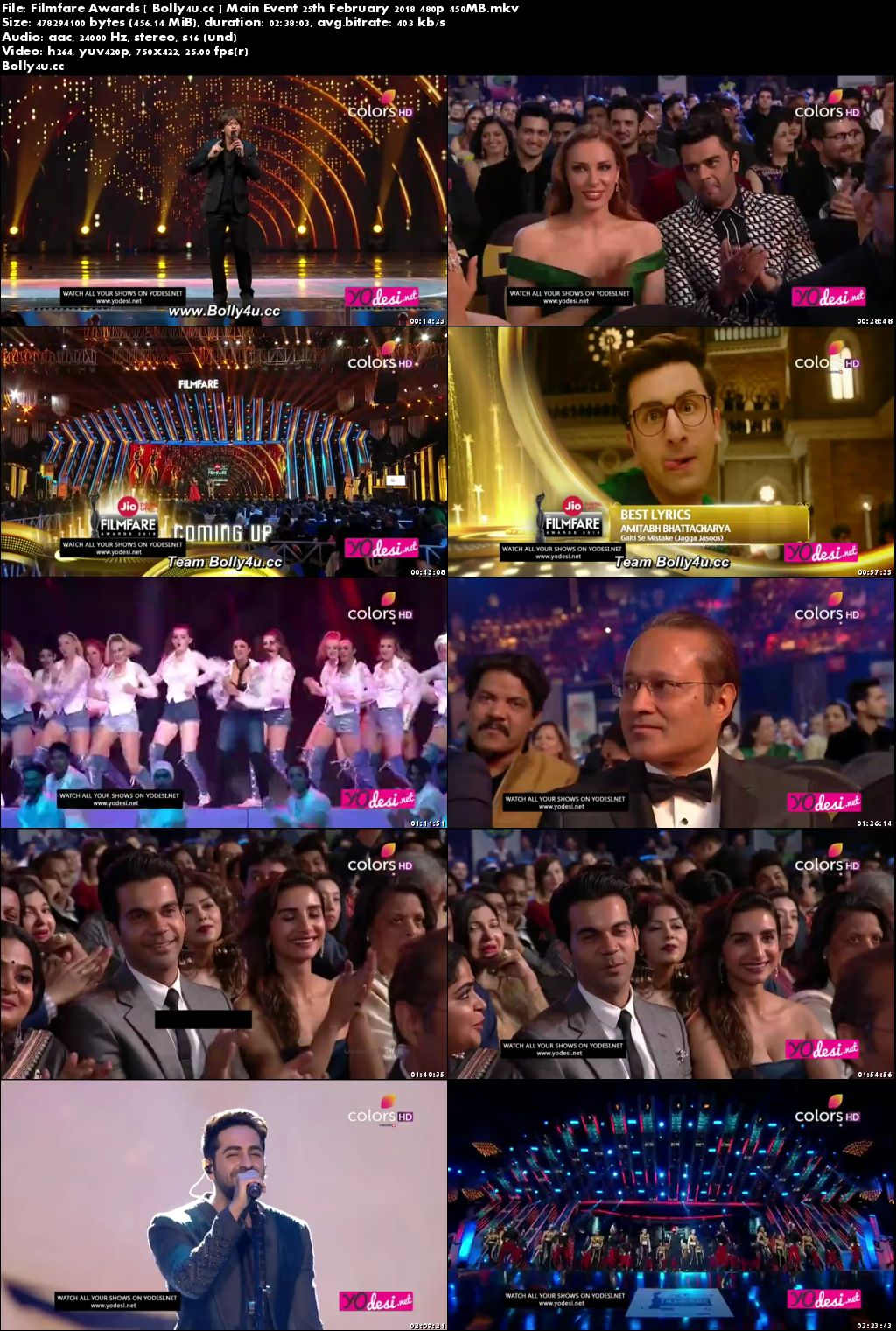 Filmfare Awards HDTV 450MB 480p Main Event 25 February 2018 Download
