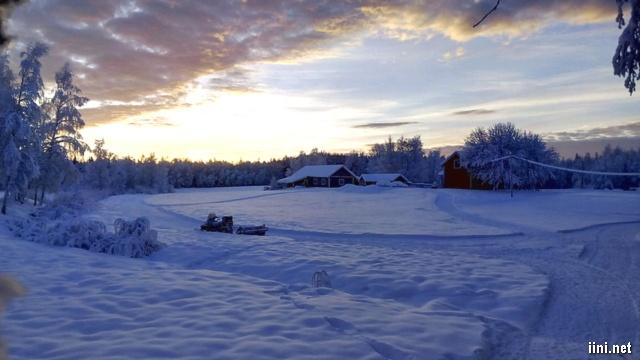 ảnh ngôi nhà giữa không gian đầy tuyết trắng