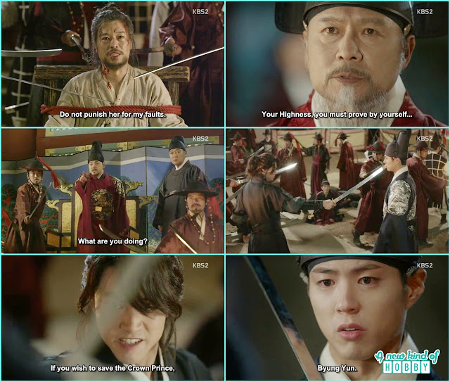 Baekwoon group come over the situation and byung yun put his sward on crown prince to save Hong gyeong nae and ra on - Love In The Moonlight - Episode 16 Review (Eng Sub) park bo gum & kim you jung