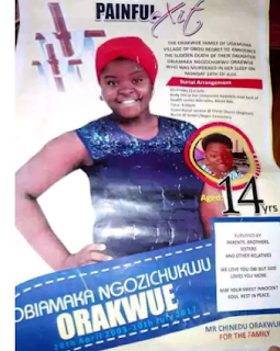 Obituary poster of a 14-year-old girl