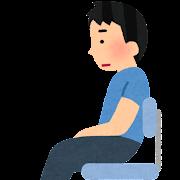 姿勢が悪い男性のイラスト(座り方)