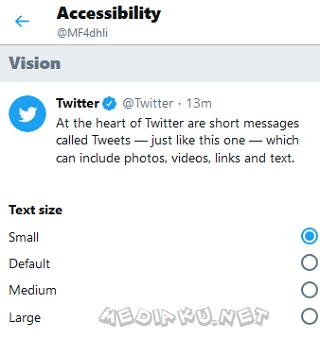Mengatur Ukuran Font Twitter