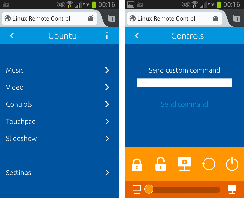 Linux Remote Control for Android
