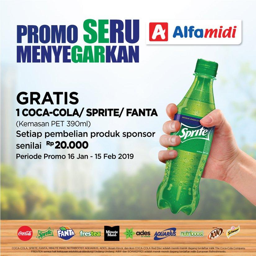 #Alfamidi - #Promo Menyegarkan Gratis Sprite/CocaCola/Fanta Min Belanja 20Ribu Produk Sponsor