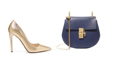 Золотые лодочки и синяя сумка для капсульного гардероба в повседневном стиле Casual
