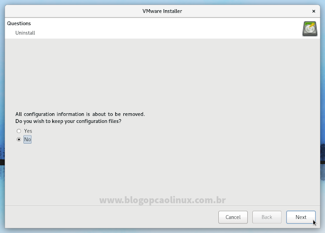 Selecione se deseja ou não remover os arquivos de configuração