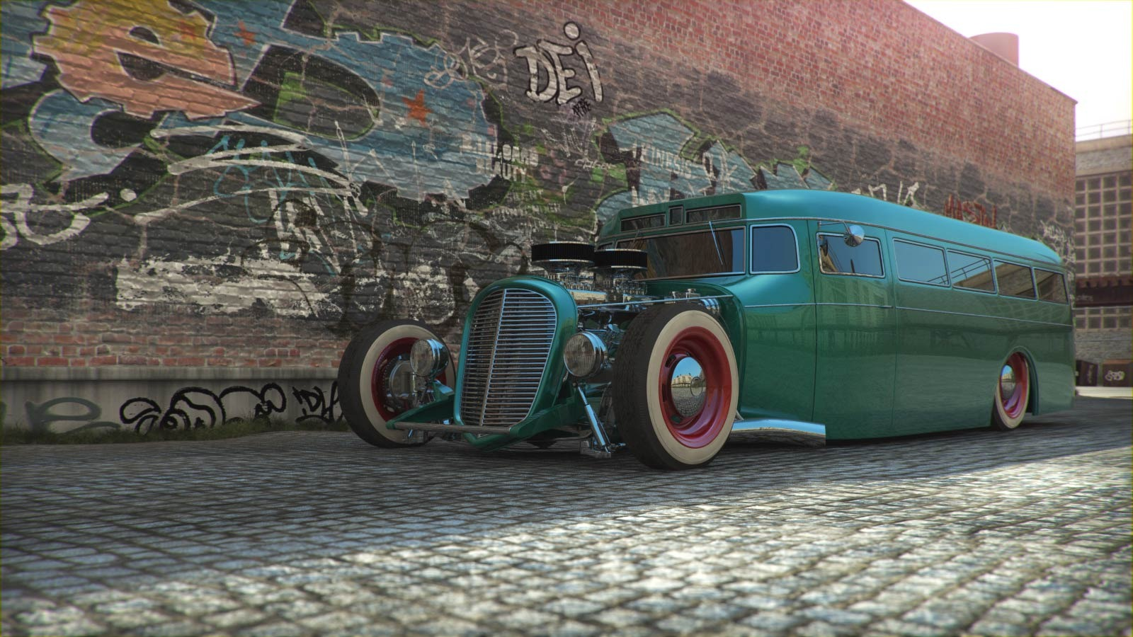 MUSCLE CAR COLLECTION : Old School Bus Hot Rod Modified
