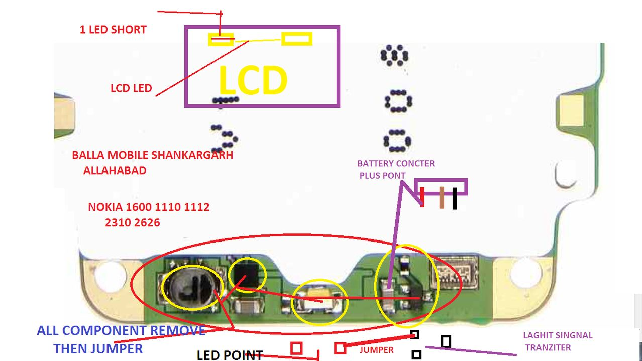 if your nokia 1600 call phone display light is not working at first try change your call phone display. if your call phone is water damage you need clean this phone use NC Tenor if your call phone is not fix please follow this diagram below on this page i hope you can fix your phone. check this line use avo miter if you find any line is broken just connect this line use copier coil or remove this red mark component follow this image instruction.