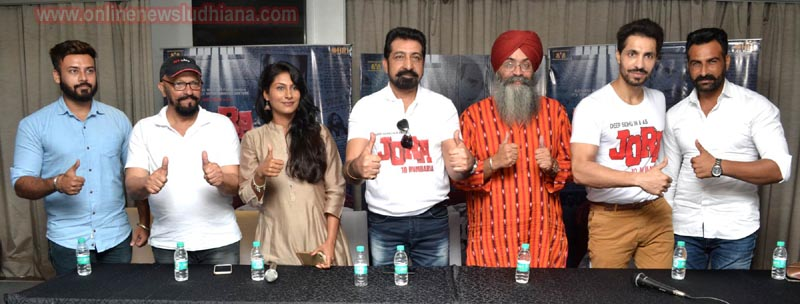 Cast and crew of upcoming Punjabi movie Jora 10 Numbaria interacting with media in Ludhiana