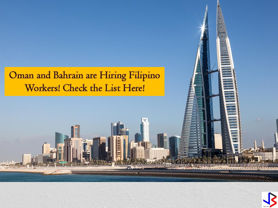 Oman and Bahrain are two countries in the Middle East that are hiring Filipino workers every month. There are many job opportunities for Filipinos opened in the said countries.  Bahrain is hiring for waiters or waitress, male or female housekeeper, lifeguard, security guards, tailors, and many others while Oman is looking for truck drivers, cleaners, contracts engineers, meat cutter, juice maker, hairdresser, and many others. Check the following recruitment agencies and job orders below from Philippine Overseas Employment Administration (POEA)!   Jbsolis.net is NOT a recruitment agency and we are NOT processing nor accepting applications for jobs abroad. All information in this article is taken from the website of POEA — www.poea.gov.ph for general purposes only. Recruitment agencies are being linked to each job orders so that interested applicants may know where to coordinate and apply for their desired position.  Interested applicant may double-check the job orders as well as the licensed of the hiring recruitment agencies in POEA website to make sure everything is legal.