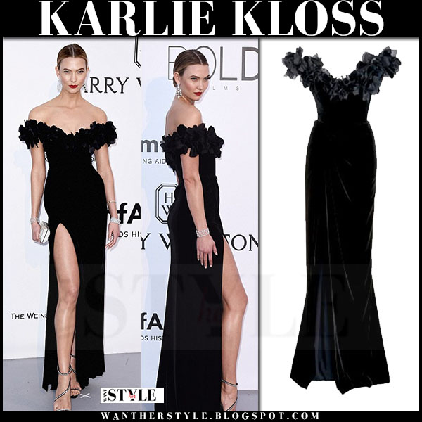 Karlie Kloss in black off shoulder marchesa gown what she wore amfar gala may 19 2016 red carpet