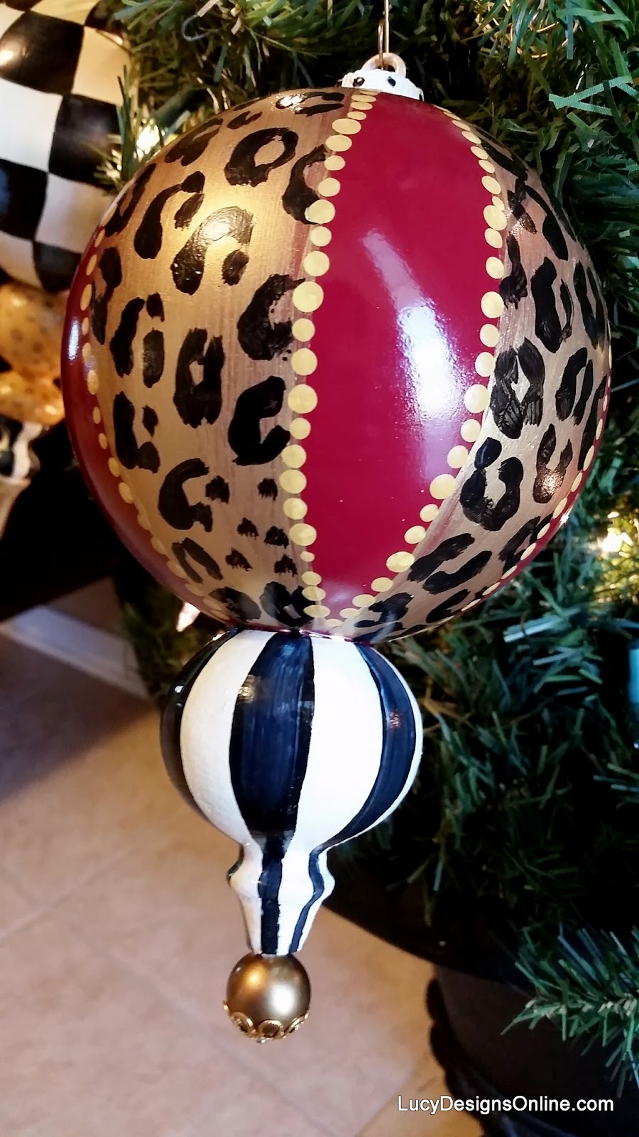 hand painted animal leopard print and stripe ornament