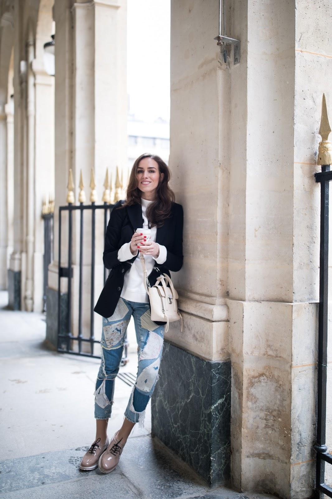 paris spring street style blazer sweater jeans
