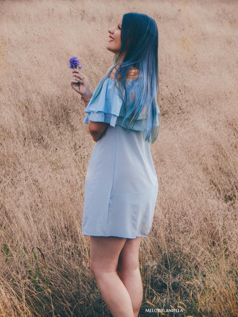 4 daniel wellington ootd lookbook fashion blogger modowe blogerki z łodzi melodylaniella blue hair niebieskie włosy baby blue hiszpanka venita błękitna sukienka stylizacja outfit modna polka pastel hair