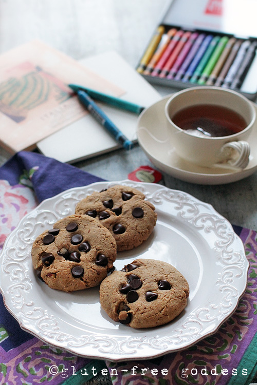 Gluten-free almond butter chocolate chip cookies from the Gluten-Free Goddess.