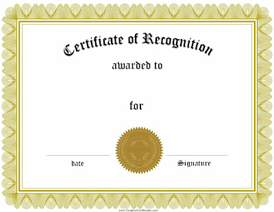 Blank Certificate Of Recognition Templates Dfali