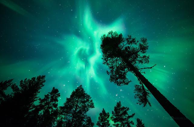 Sob as luzes da aurora boreal, elevam-se os olhares para o céu, pondo-se a contemplar um fenômeno de rara beleza e mistério.