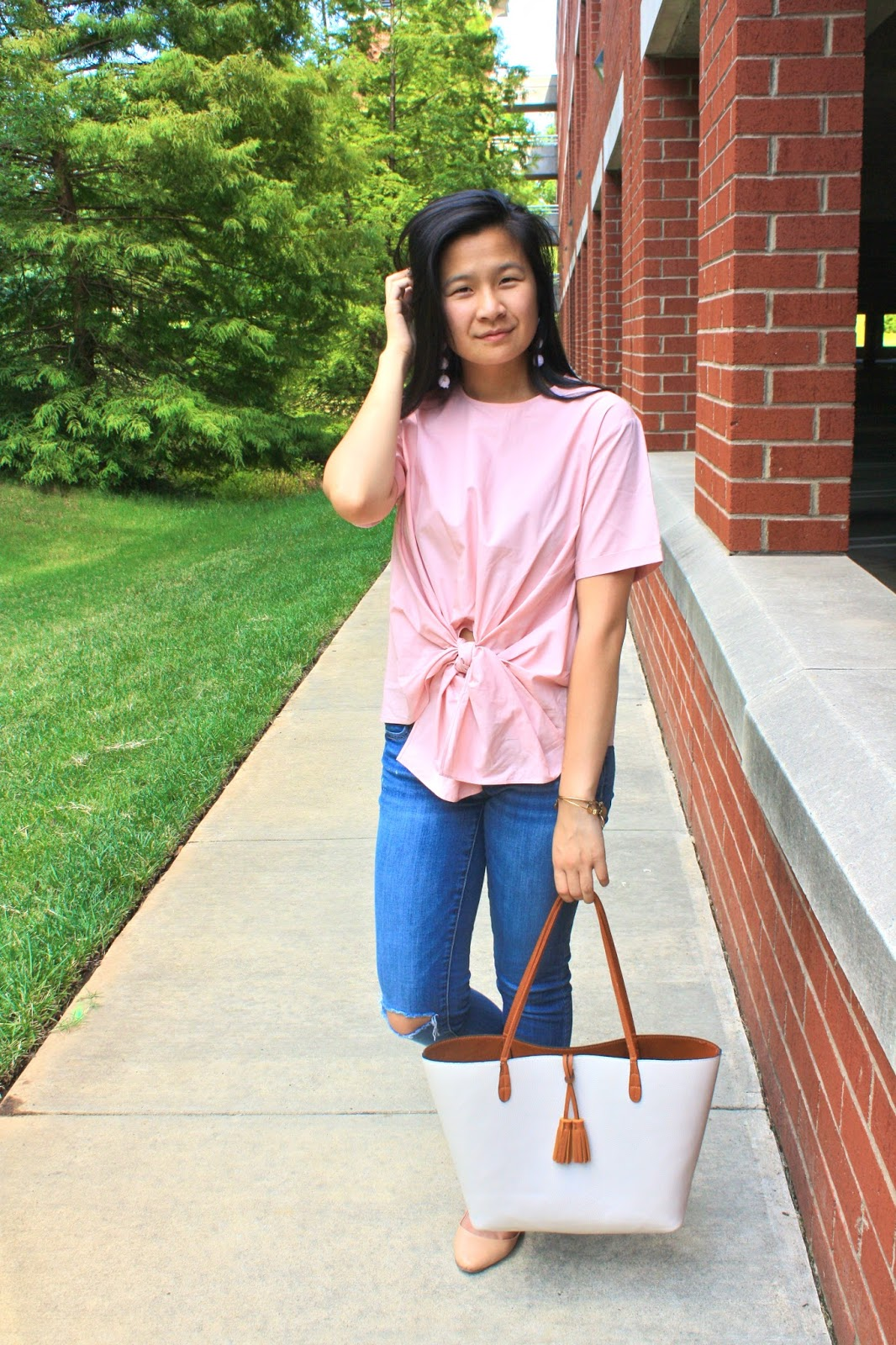 STyling a pink bow tie top